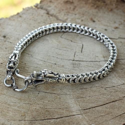 Fair Trade Sterling Silver Chain Bracelet 'Dragon Art'