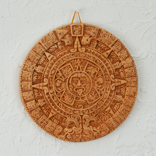 Archaeological Ceramic SunStone from Mexico 'Aztec Calendar in Tan'
