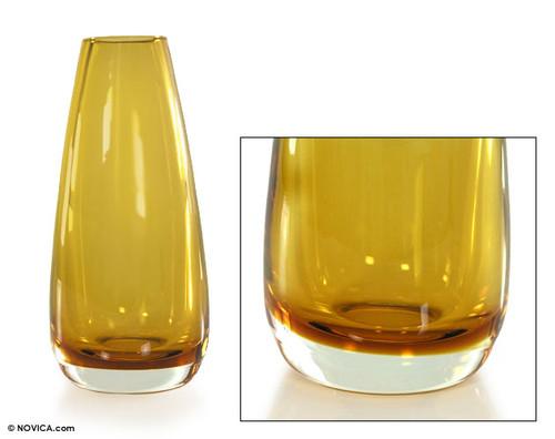 Murano Inspired handblown vase 'Amber Glow'