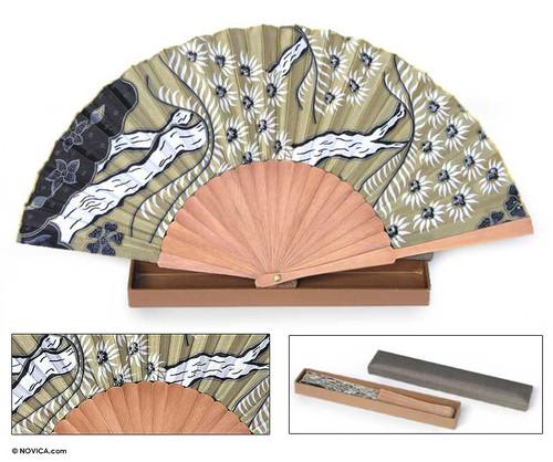 Handmade Silk Batik Fan 'Tropics'