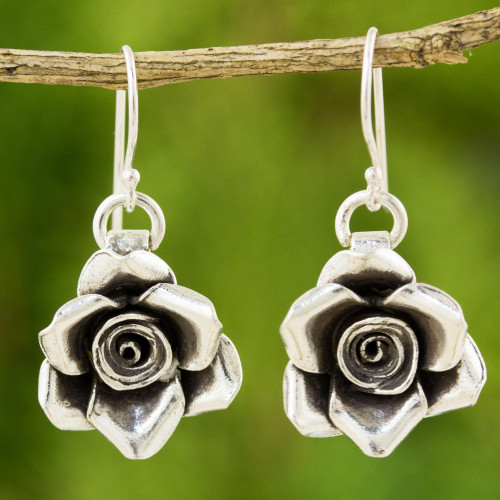 Handcrafted Floral 950 Silver Dangle Earrings 'Sweetheart Rose'