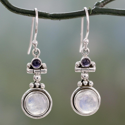 Fair Trade Sterling Silver Moonstone and Iolite Earrings 'Misty Moon'