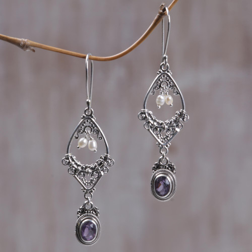 Amethyst and pearl flower earrings 'Empress'