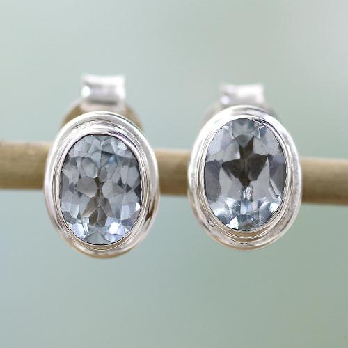 Blue Topaz Earrings Sterling Silver Studs  'Sky Duet'