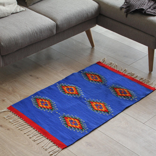 Mexican Blue and Red Zapotec Wool Area Rug 2x3.5 'Six Suns'