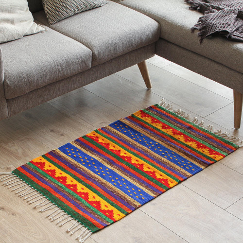 Zapotec wool rug 2x3.5 'The Colors of My Village'