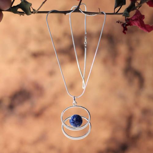 Sterling Silver Lapis Lazuli Pendant Necklace 'Cuddle Me Blue'