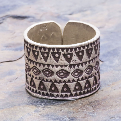 Sterling silver band ring 'Amulet'