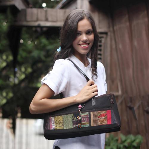 Unique Hill Tribe Cotton Shoulder Bag 'Innovations'