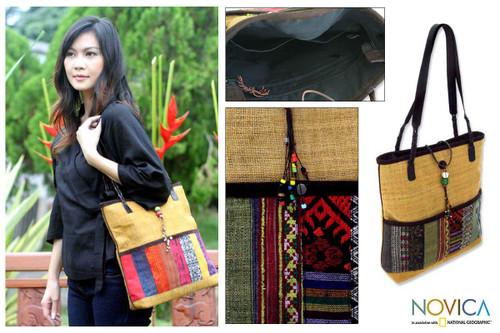 Hill Tribe Patchwork Shoulder Bag 'Natural Rhythm'