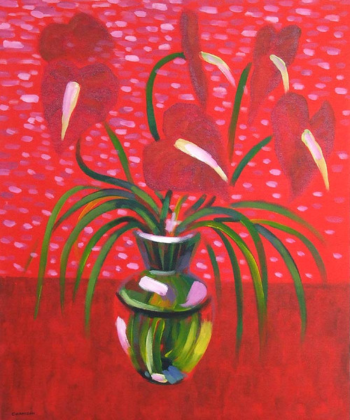 Floral Acrylic Painting 'Happy in Red'