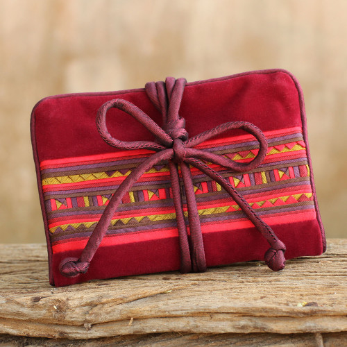 Thai Hill Tribe Crafted Burgundy Cotton Blend Jewelry Roll 'Lisu Lines in Wine'