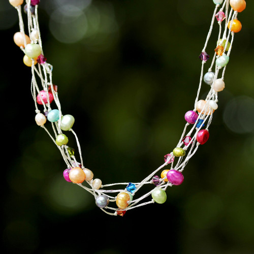 Unique Beaded Pearl Necklace 'Party Balloons'