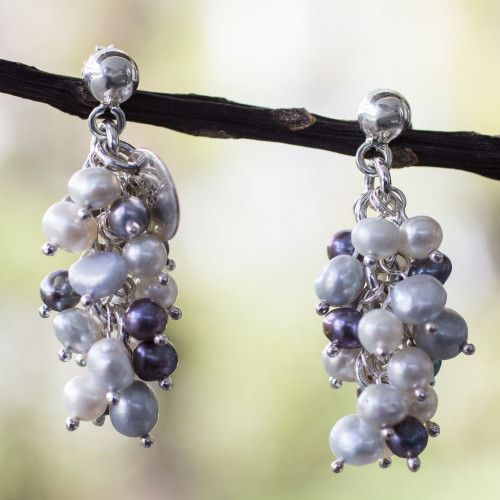 Pearl cluster earrings 'Nautical Melody'