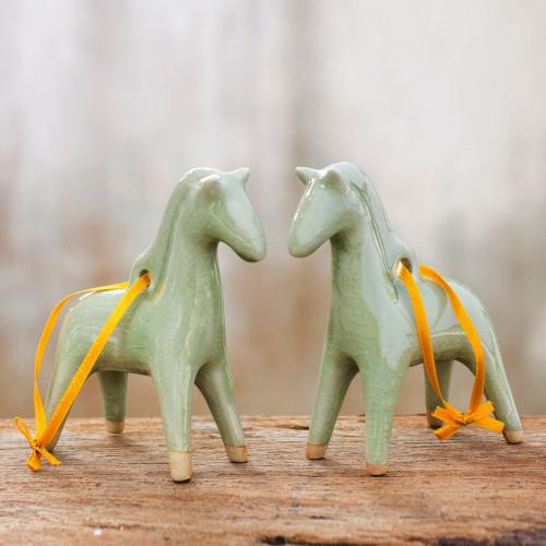 Unique Celadon Ceramic Christmas Ornaments Pair 'A Season for Horses'