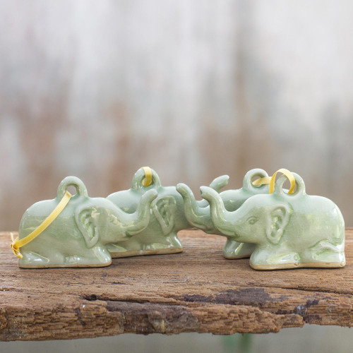 Fair Trade Celadon Ceramic Christmas Ornaments Set of 4 'Green Holiday Elephants'