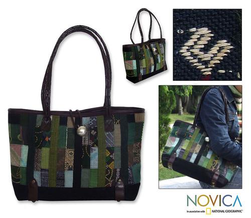 Handmade Hill Tribe Hemp Shoulder Bag 'Forest Green Collage'