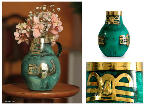 Copper and bronze vase 'Inca Icons'