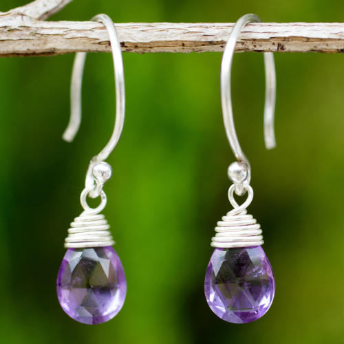 Silver and Amethyst Damgle Earrings 'Glowing Exotic'