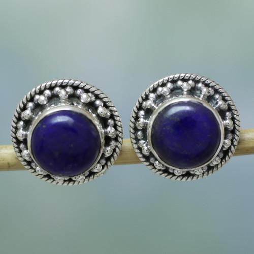 Artisan Crafted Sterling Silver Lapis Lazuli Earrings 'Lavish Moon'