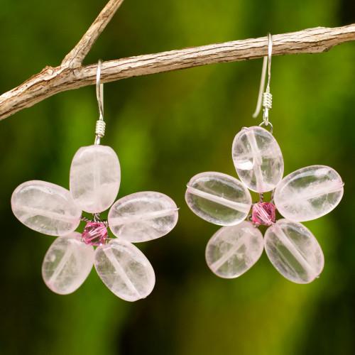 Rose Quartz Flower Earrings 'Mystic Daisy'