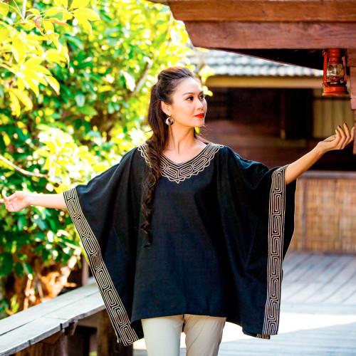 Cotton blouse 'Flowing Nature'
