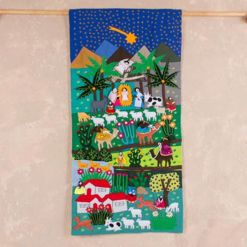 Hand Crafted Religious Applique Tapestry Wall Hanging 'Nativity Scene'
