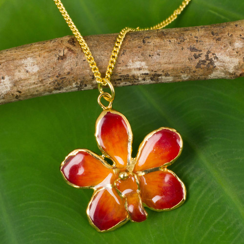 Natural orchid gold-plated necklace 'Orchid Star'