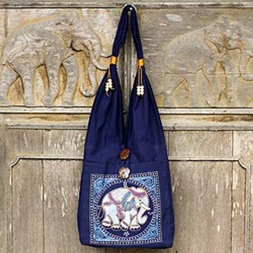 Handcrafted Cotton Shoulder Bag  'Lucky Elephant'