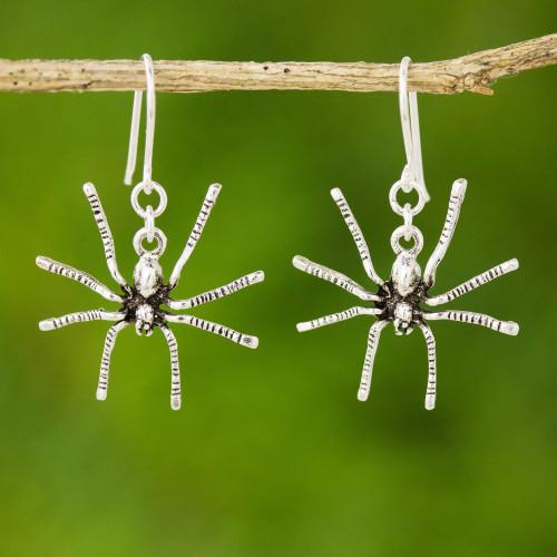 Sterling Silver Dangle Earrings 'Sterling Spiders'