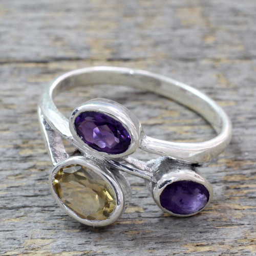 Amethyst and Citrine 3 Stone Sterling Silver Ring from India 'Mystical Alliance'