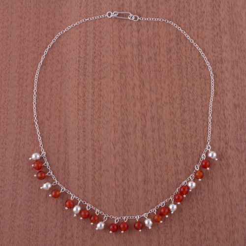 Handcrafted Sterling Silver Beaded Carnelian Choker Necklace 'Sunny Harmony'