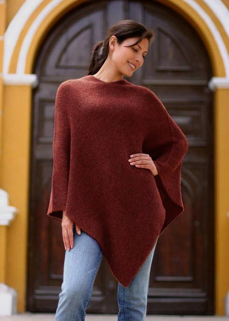 Women's Alpaca Wool Poncho 'Autumn Splendor'