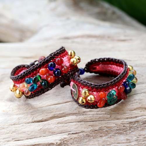 Beaded Wristband Bracelets Pair 'Bold Pink Fortunes'