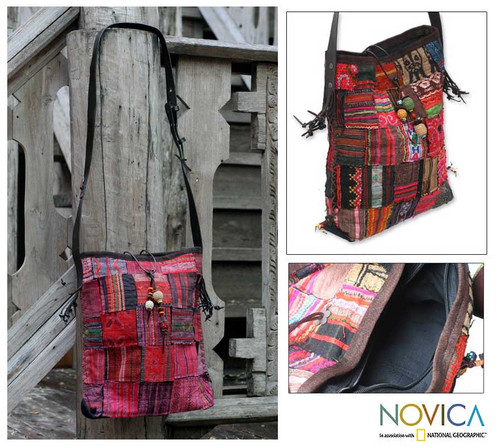 Artisan Crafted Red Cotton Shoulder Bag  'Hill Tribe Patchwork'