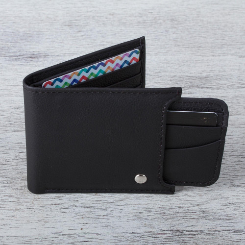 Men's Black Leather Wallet with Removable Card Case 'Nocturnal Trail Blazer'