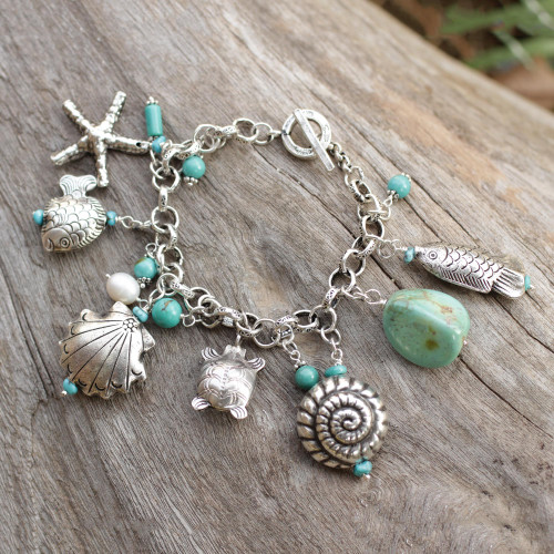 950 Silver and Cultured Pearl Charm Bracelet 'Open Sea'