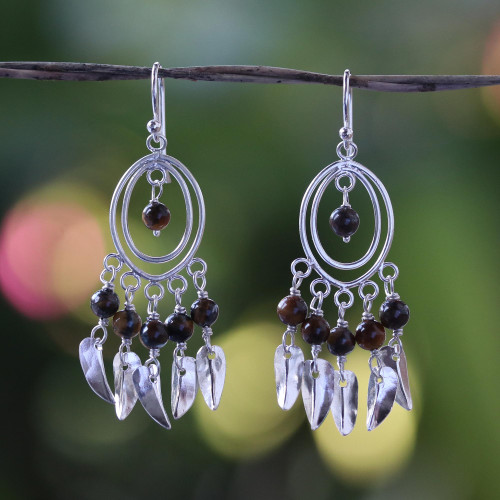 Tiger's eye chandelier earrings 'Autumn Breeze'