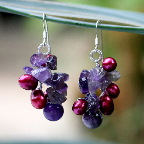 Fair Trade Amethyst and Pearl Cluster Earrings 'Jungle Orchid'