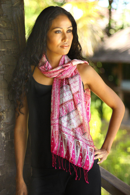 Hand Crafted Batik Silk Patterned Scarf from Indonesia 'Pink Fantasy'