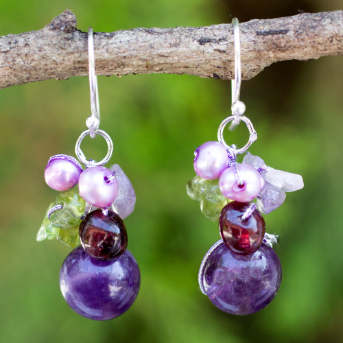 Handcrafted Amethyst and Pearl Dangle Earrings 'Bright Bouquet'