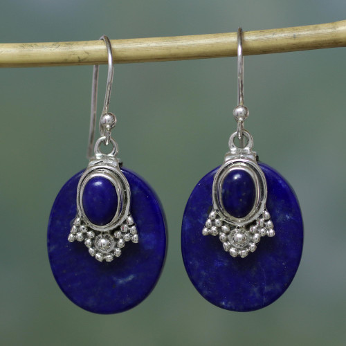 Artisan Jewelry Lapis Lazuli and Sterling Silver Earrings 'Constellations'