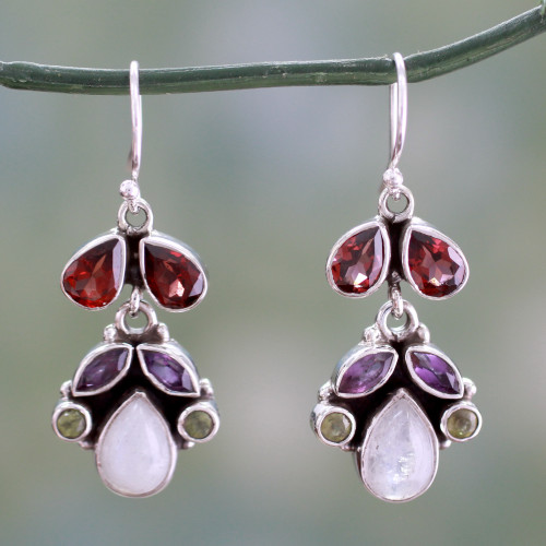 Sterling Silver and Multigem Earrings from India 'Rainbow'