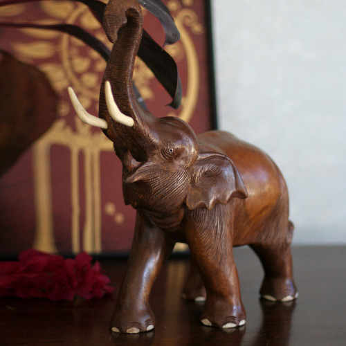 Handcrafted Wood Sculpture 'Elephant Joy'