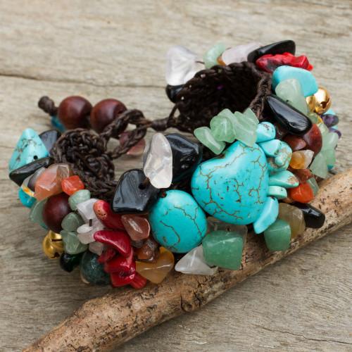 Beaded Multigem Bracelet 'Festive Heart'