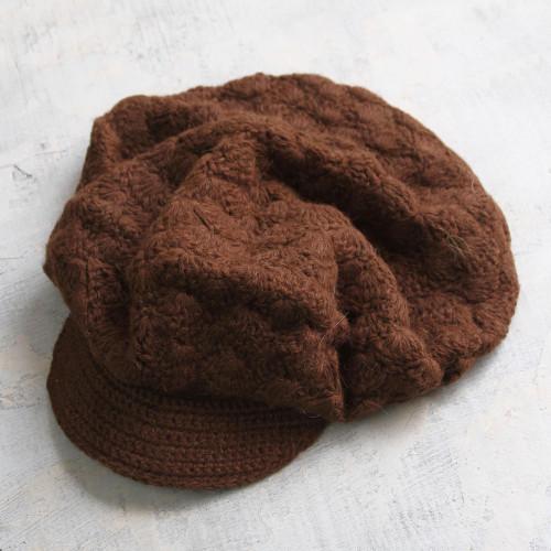 Artisan Crafted Alpaca Wool Cap 'Chestnut Cap'