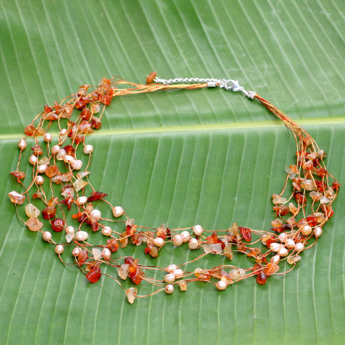 Beaded Pearl and Carnelian Necklace 'Warm Shower'