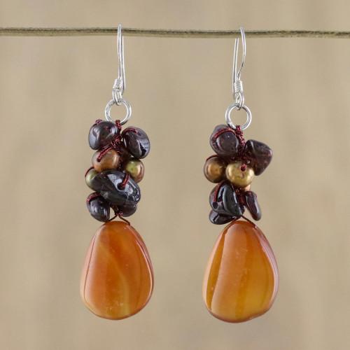 Pearl and Garnet Dangle Earrings 'Blossoming Sun'