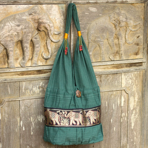 Elephant Embroidery Shoulder Bag 'Emerald Thai'