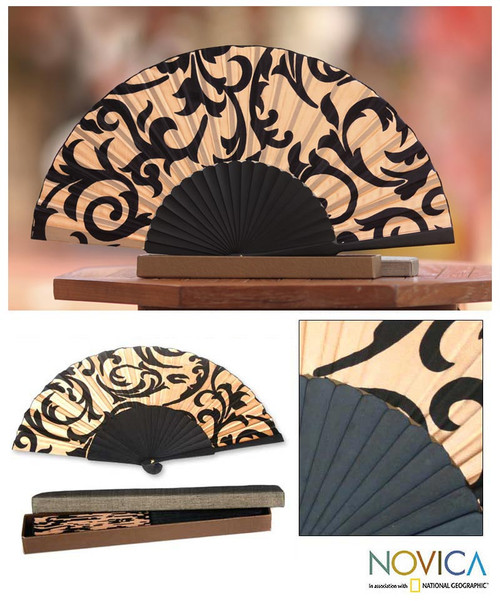 Silk Batik Patterned Fan 'Bali Glory'